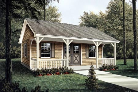 Project Plan 85951   Workroom with Covered Porch Workroom with Covered Porch   Project Plan 85951
