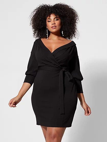 Off-Shoulder Tuxedo Dress