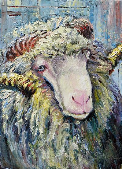 Texture Sheep by gabriele baber Oil ~ 8 x 6