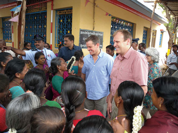 In 2009, Damon and Gary White cofounded Water.org. That same year, they visited this town in the Indian state of Tamil Nadu. Their initial trips into the field included a foray to South African slums while Damon was shooting <em />Invictus. | Courtesy of Water.org