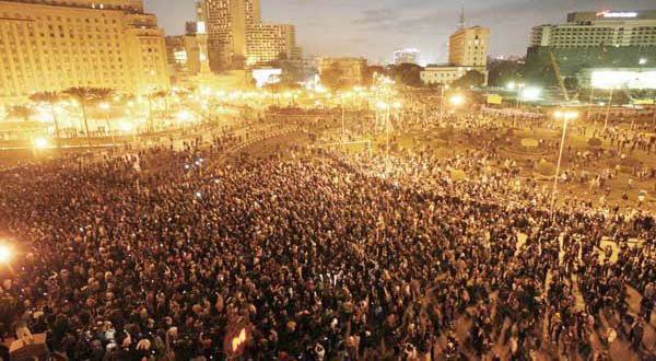 An Egyptian opposition Facebook page, Mama Qarat, just posted this stunning picture of the protests in Tahrir Square