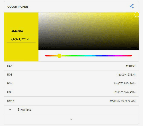 The color picker tool is an easy way to find color codes and convert among different code types.