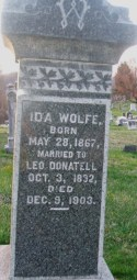 Head stone inscription of Ida Wolfe Donatell