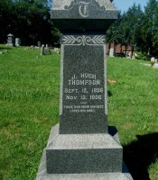 Inscription of J. Hugh Thompson on Thompson Family grave marker