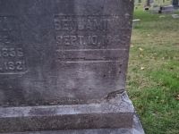 Image of a section of Odd Fellows' Cemetery where Benjamin Rogers is buried