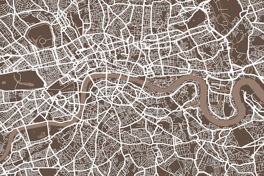 London England Street Map Digital Art by Michael Tompsett London Digital Art   London England Street Map by Michael Tompsett