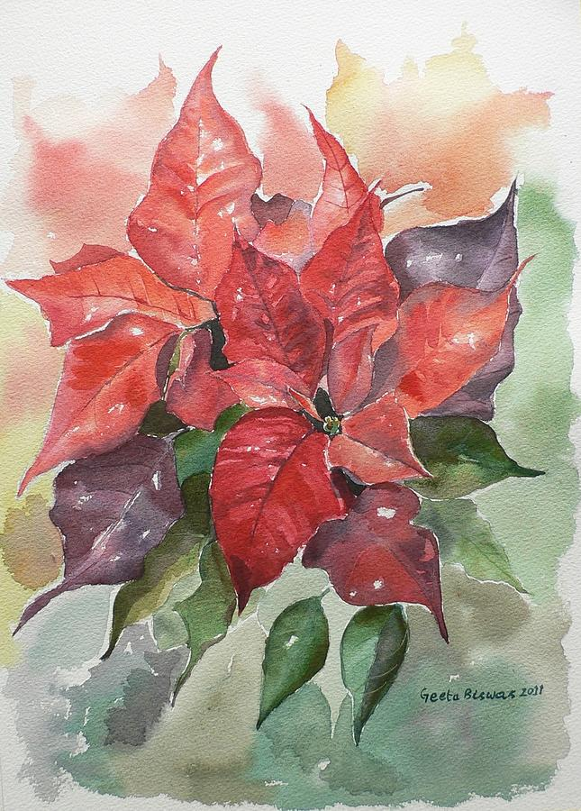 Poinsettias Painting By Geeta Biswas