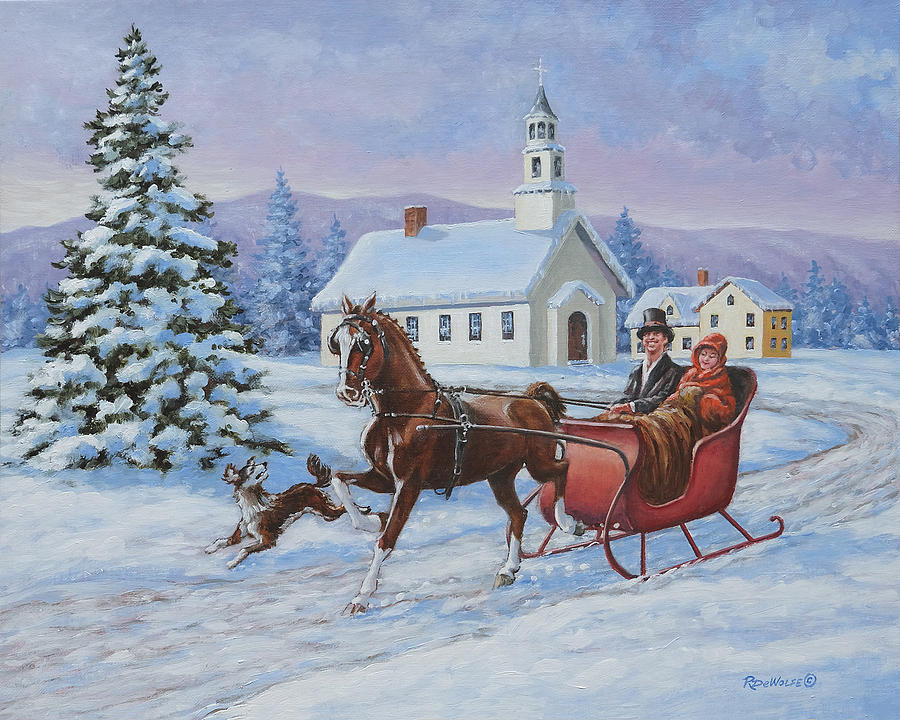 A One Horse Open Sleigh Painting By Richard De Wolfe