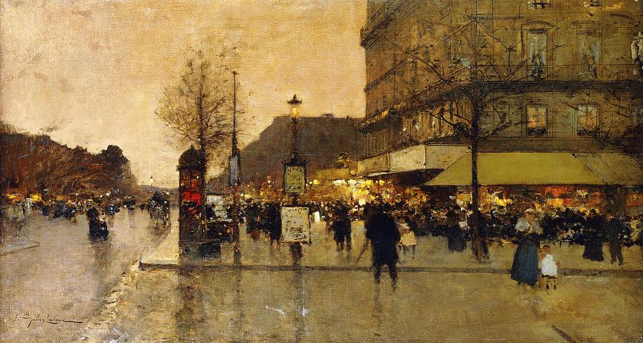A Parisian Street Scene Painting By Eugene Galien Laloue