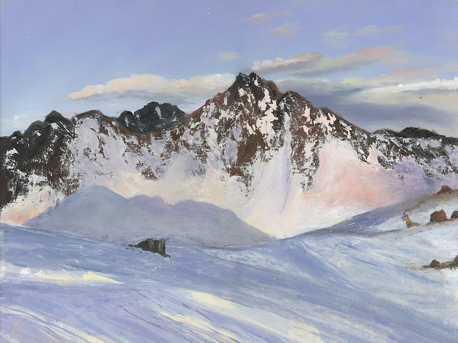 Alamoots Winter Mountains Painting By Cecilia Brendel