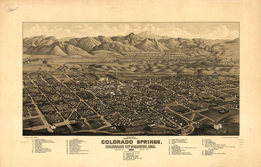 Antique Map Of Colorado Springs And Manitou   1882 Drawing by Eric     Colorado Drawing   Antique Map Of Colorado Springs And Manitou   1882 by  Eric Glaser