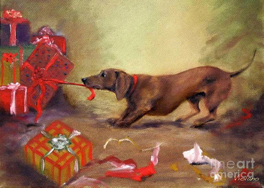 Bad Dog Christmas Painting By Stella Violano