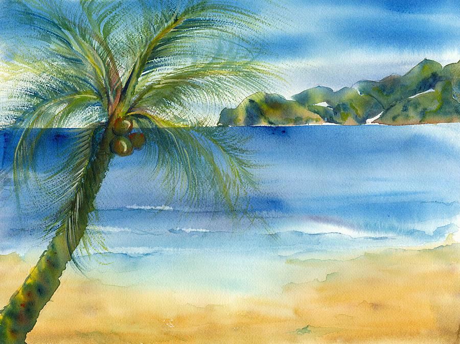 Beach Coconut Painting By Deborah Pence