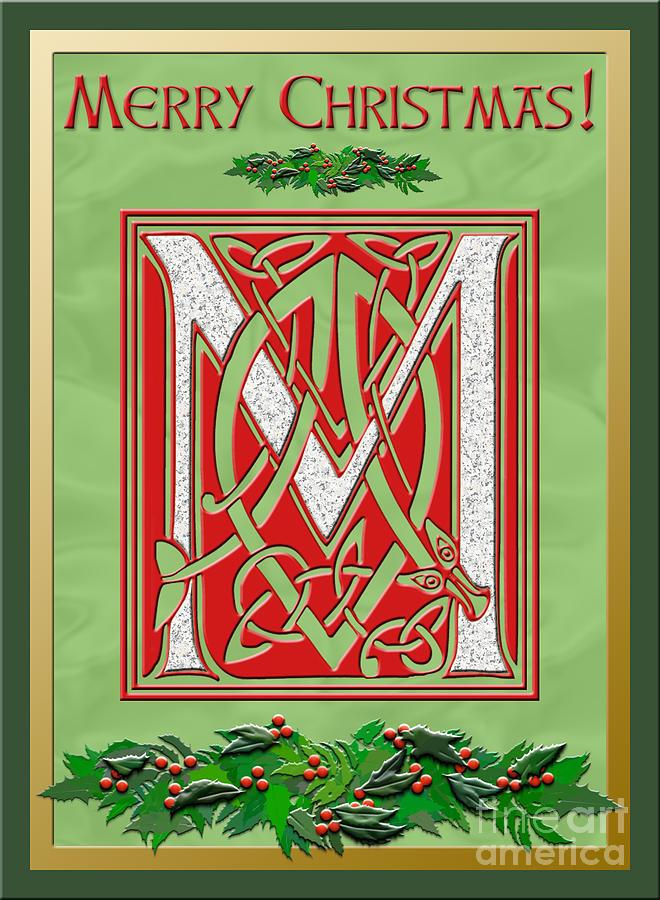 Celtic Christmas M Initial Digital Art By Melissa A Benson