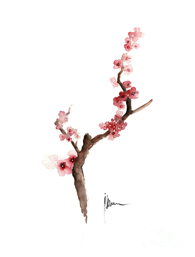 cherry blossom painting art print watercolor large poster by joanna szmerdt