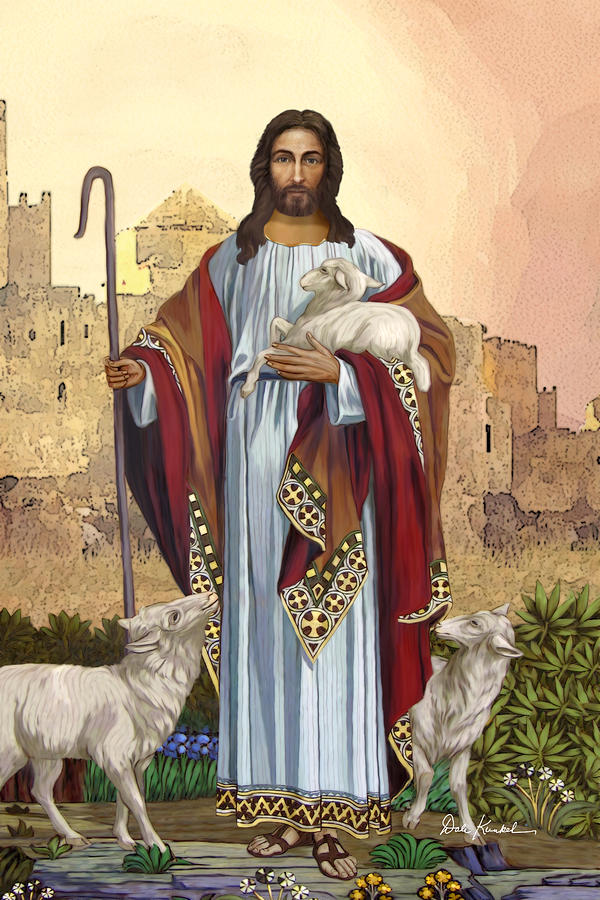 Christian Religious Art Of Jesus Paintings - The Good Shepherd Painting  - Christian Religious Art Of Jesus Paintings - The Good Shepherd Fine Art Print