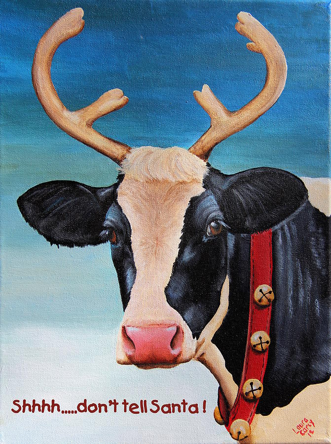 Christmas Cow Painting By Laura Carey