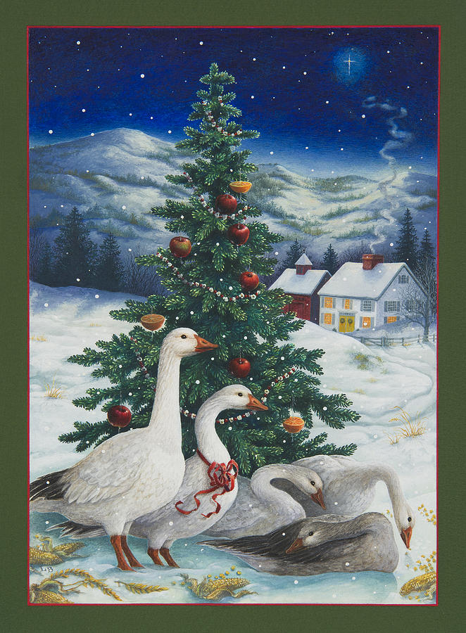 Christmas Geese Painting By Lynn Bywaters