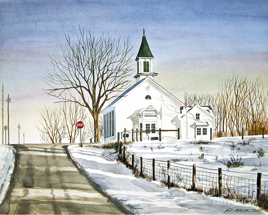 Country Church Painting By Rick Mock