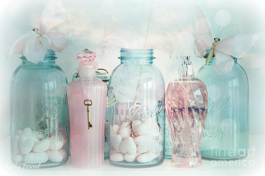 Dreamy Shabby Chic Vintage Ball Jars With Pink Bottles