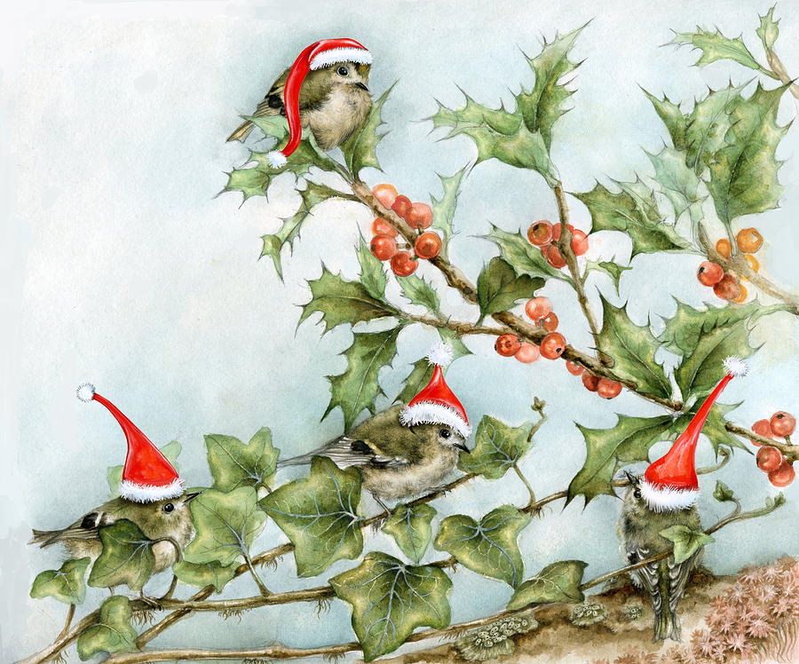 Goldcrests On Holly Tree Painting By Marina Durante