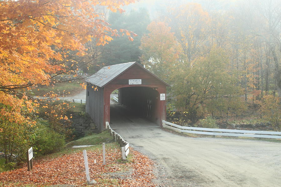 Green River Covered Bridge Guilford Vermont Autumn Fog