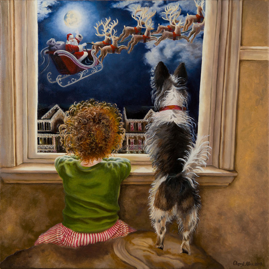 Hannah And Rockys Magical Christmas Painting By Cheryl Allen