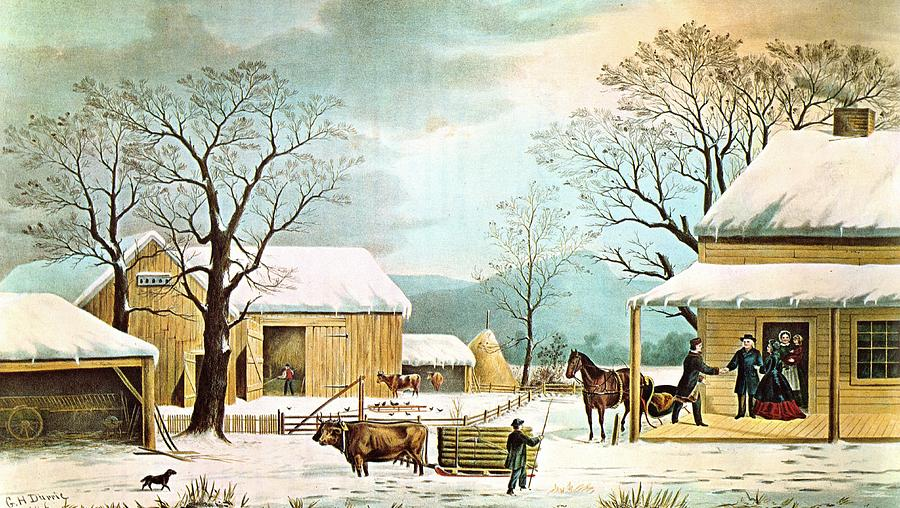 Home To Thanksgiving Digital Art By Currier And Ives