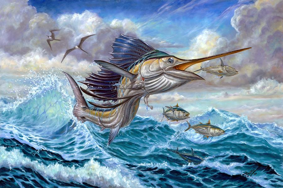 Jumping Sailfish And Small Fish Painting By Terry Fox