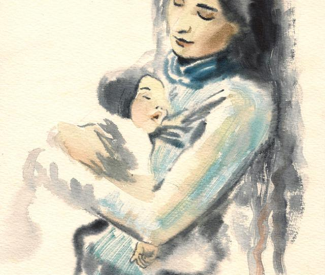 Impressionism Painting Mother And Child Watercolor Painting By Cristina Movileanu