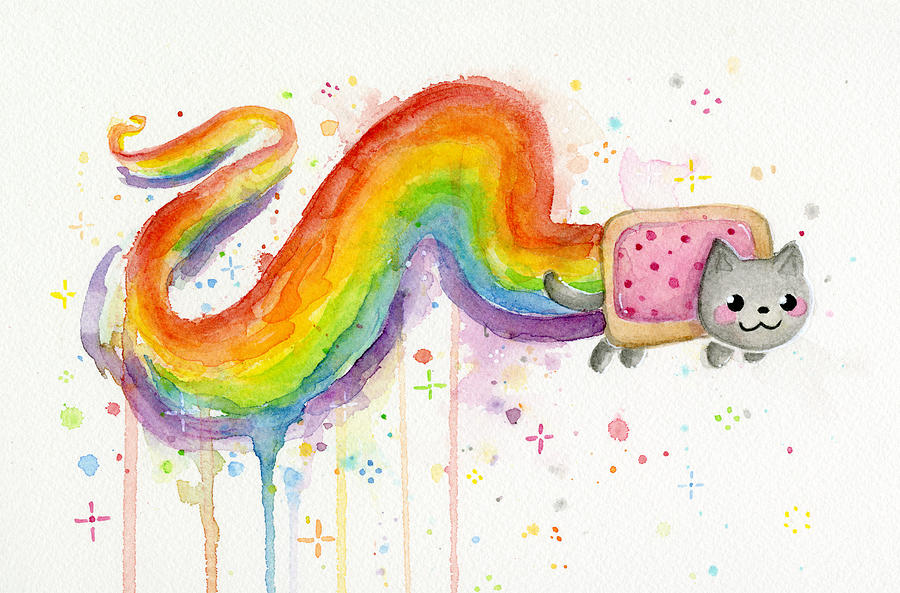 Nyan Cat Watercolor Painting By Olga Shvartsur