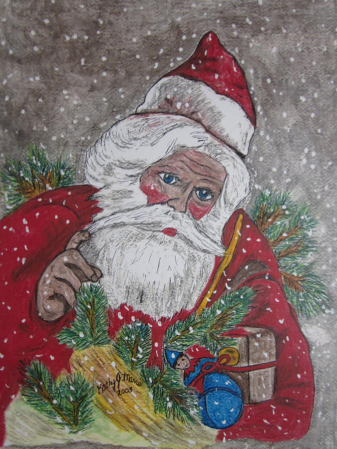 Old Fashioned Santa Painting By Kathy Marrs Chandler