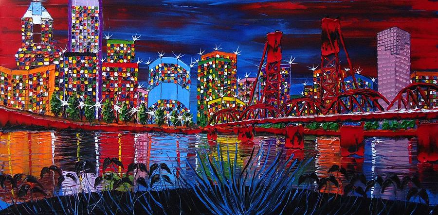 Portland City Lights 33 Painting By Dunbars Modern Art