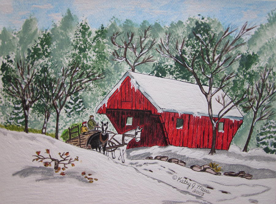 Red Covered Bridge Christmas Painting By Kathy Marrs Chandler