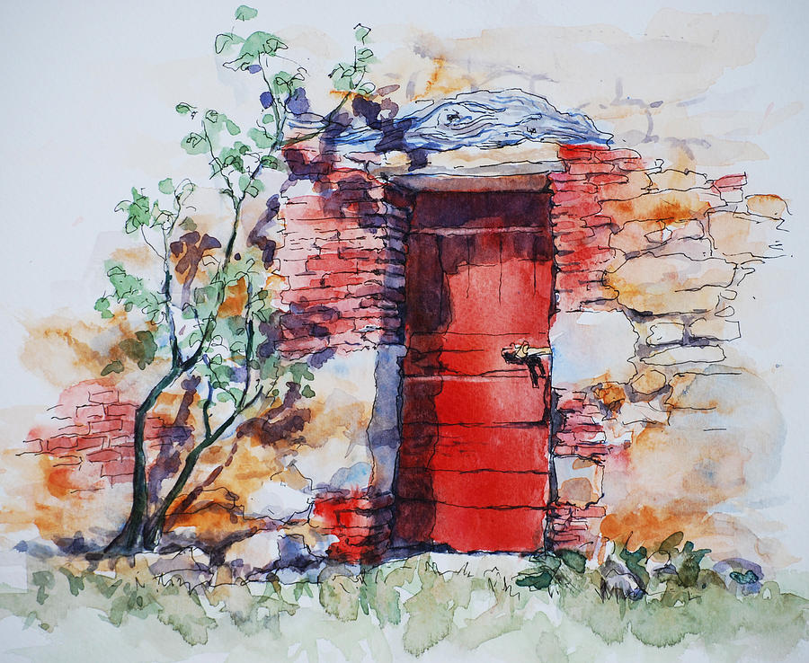 Red Door Painting By Sue Zimmermann