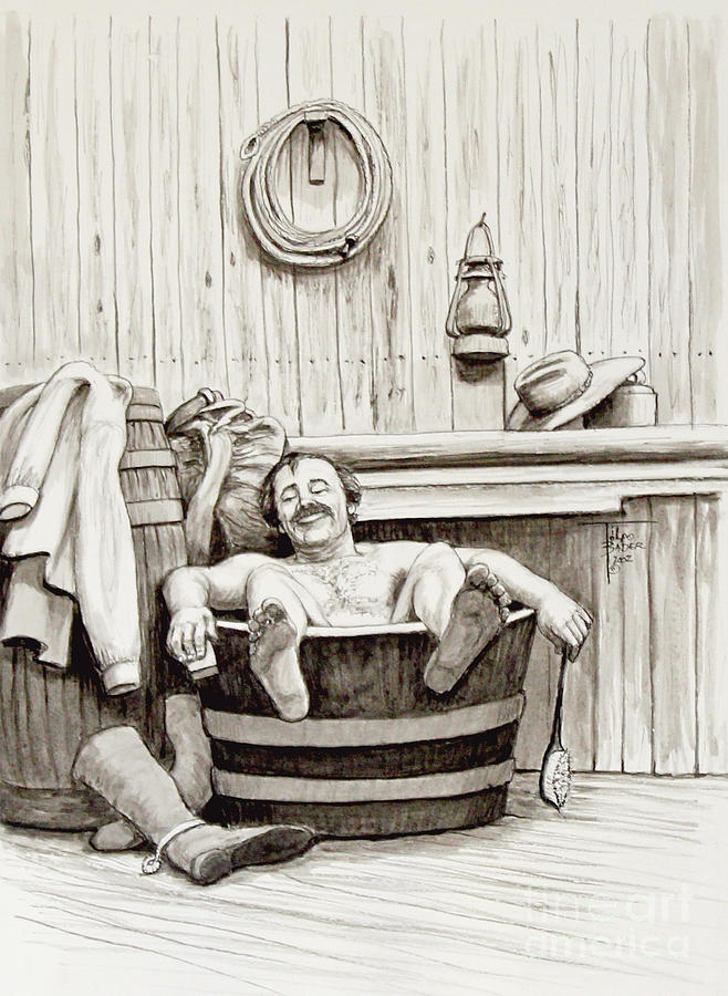 Relaxing Bath 1890s Drawing By Art By Ti Tolpo Bader