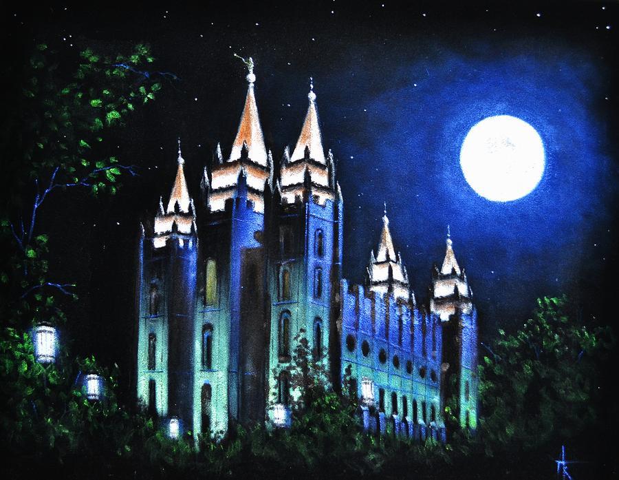 Salt Lake Mormon Lds Temple Painting By Thomas Kolendra