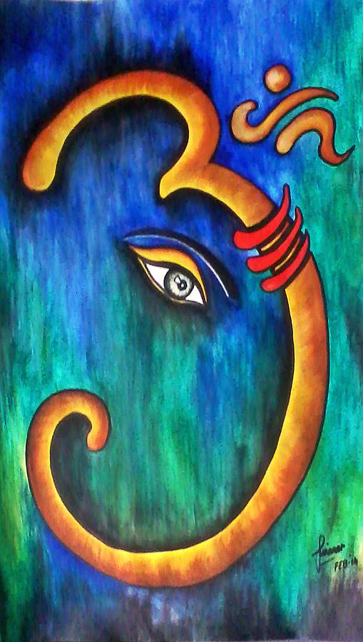Sanskrit Om Ganesha Painting By Sivaanan Balachandran