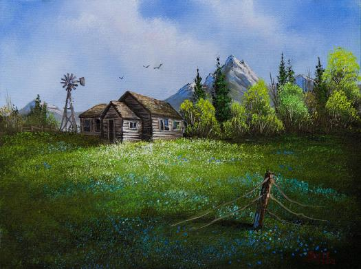 Cabin Painting Sawtooth Mountain Homestead By Chris Steele