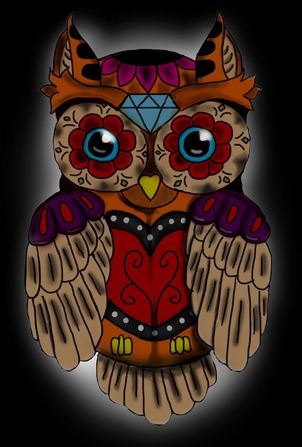 sugar skull owl is a piece of digital artwork by niklas bates which