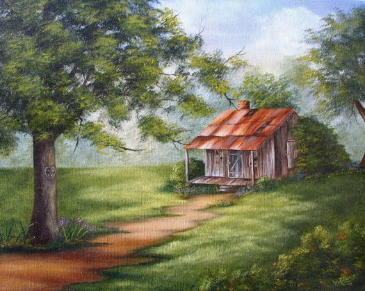 Oil Painting The Old Homestead By Ruth Bares