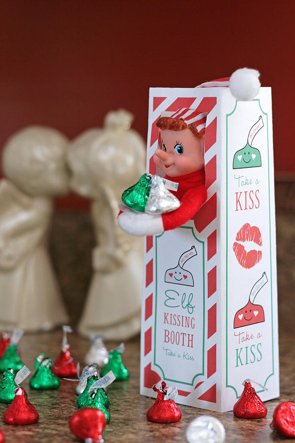 Vintage Christmas Elf Kissing Booth Photograph By Barbara West