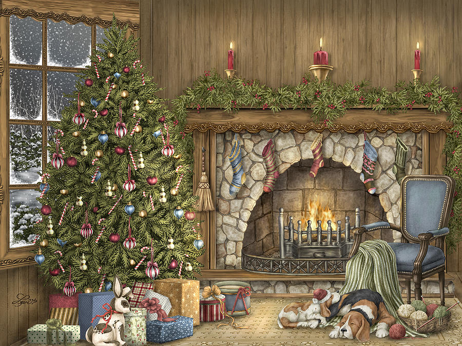 Warm Christmas Painting By Beverly Levi Parker