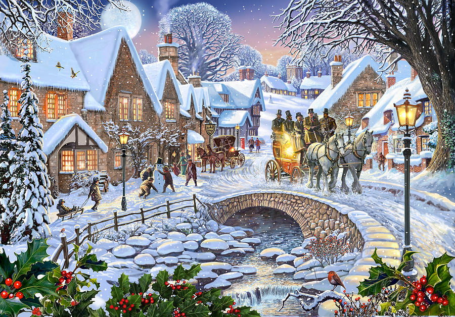 Winter Village Stream Painting By MGL Meiklejohn Graphics