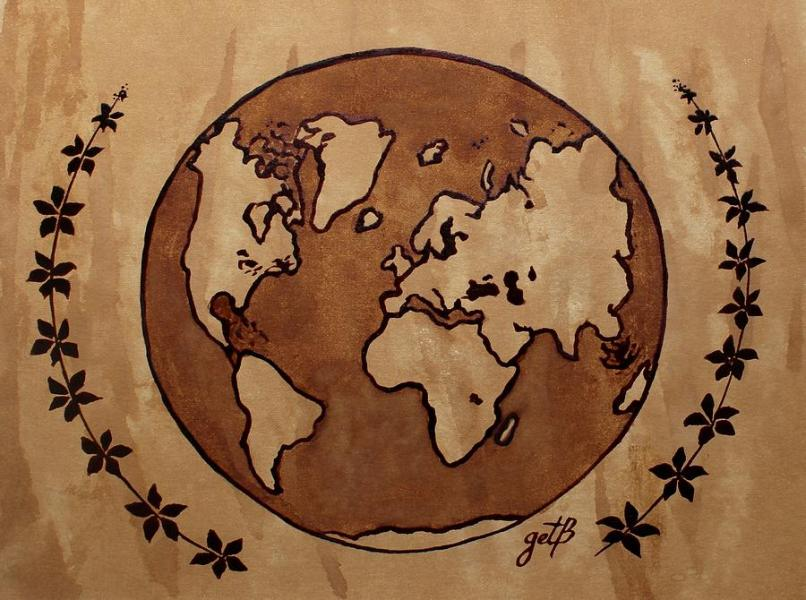 Abstract World Globe Map Coffee Painting Painting by Georgeta Blanaru World Map Painting   Abstract World Globe Map Coffee Painting by Georgeta  Blanaru