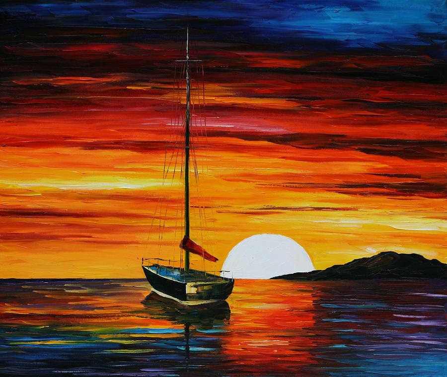 Boat at sea painting