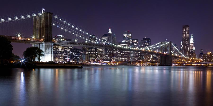 Brooklyn Bridge At Night Panorama 3 Photograph By Val