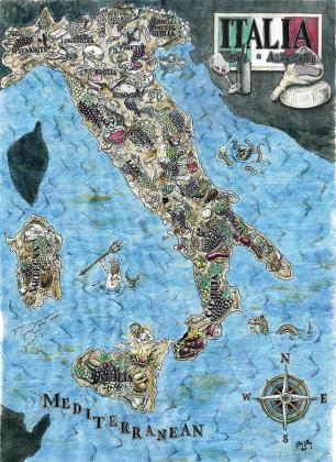 Culinary Map Of Italy Painting by Big Tasty Ink Painting   Culinary Map Of Italy by Big Tasty