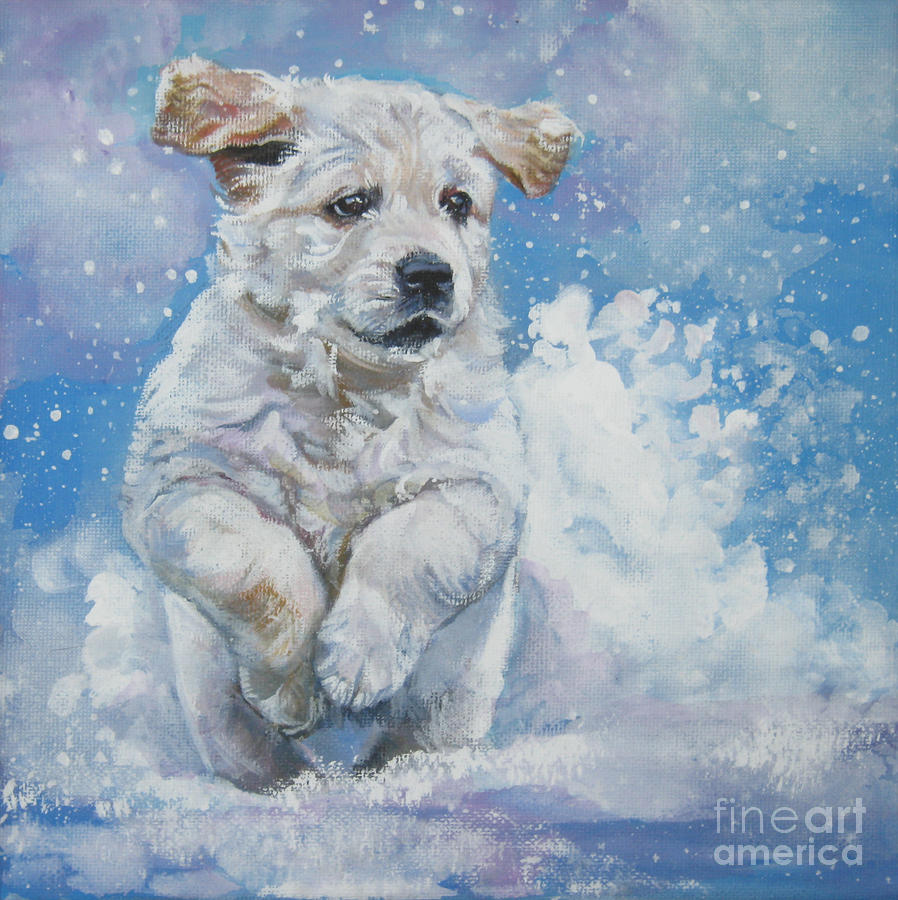 Golden Retriever Puppy Running In Snow By Lee Ann Shepard