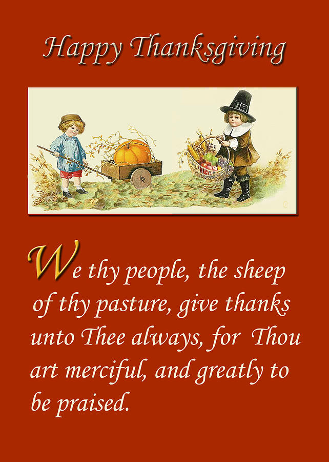 Greeting Card Thanksgiving Religious Digital Art By
